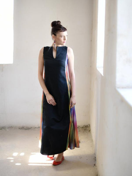 Black And Colorful Statement Dress