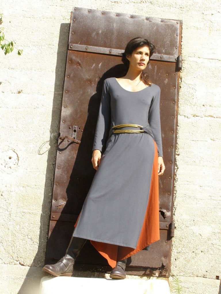 Long Sleeve Tibetan Wrap Tunic Dress