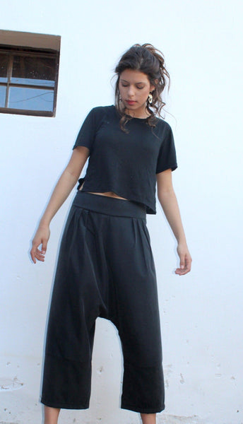 Black Designed Harem Pants