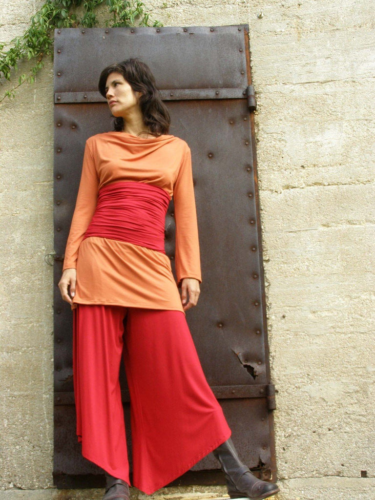 Cowl Neck Tunic with Multi Functional Waistband