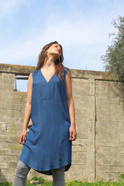 Oversize Dark Denim V Dress