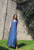 V Neck Denim Maxi dress