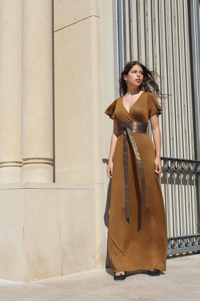 Bronze Wrap Maxi Dress