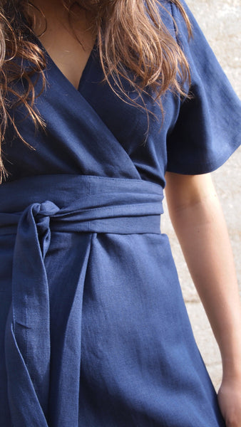 100% Linen, Origami Dress with Obi Belt
