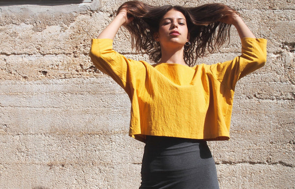 Mustard 100% Cotton Oversize Crop Top
