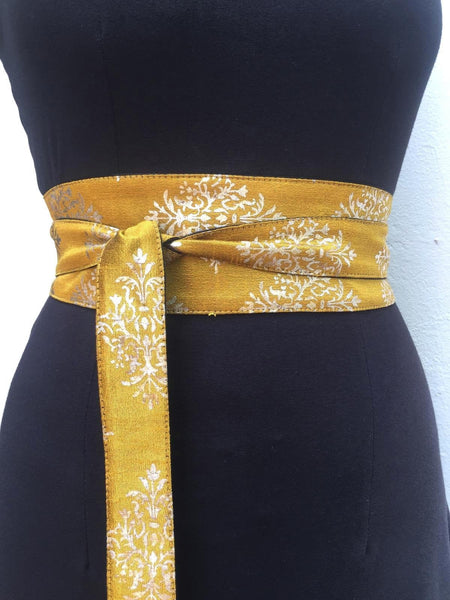 Mustard Silver Wrap Obi Belt, Sash Wrap Evening Long Waist Wide Belt