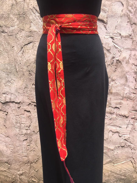 Wide Red and Gold Long Wrap Obi Belt
