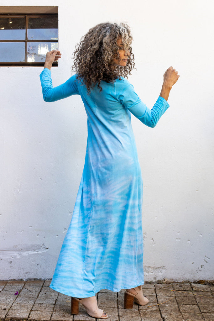 Turquoise Hand Dyed Shibori Dress