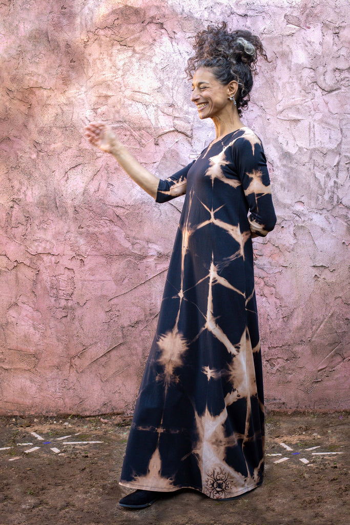 Hand Dyed Shibori Maxi Dress