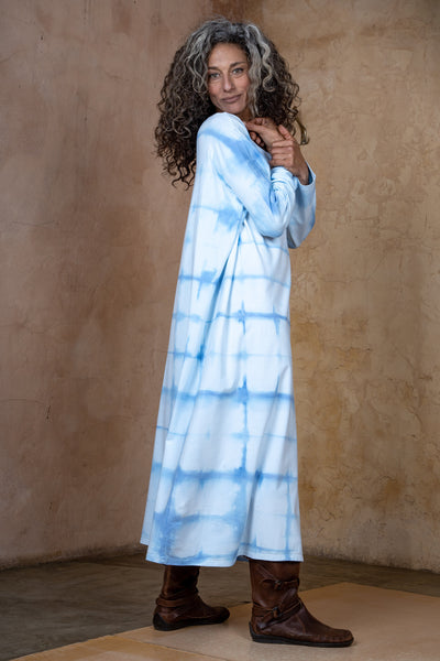 Sky Blue Hand Dyed Shibori Oversize Dress