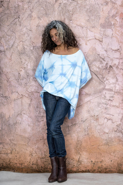 Light Blue Shibori Dye Top