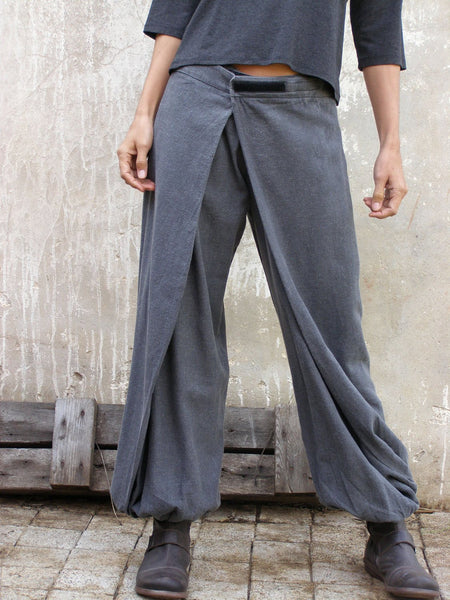 Grey Origami Trousers - 4 Way Women Wrap Pants