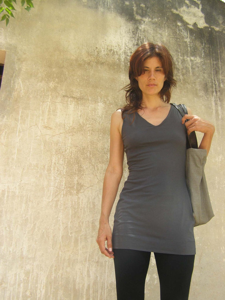 Gray Summer Tunic With Built In Bra