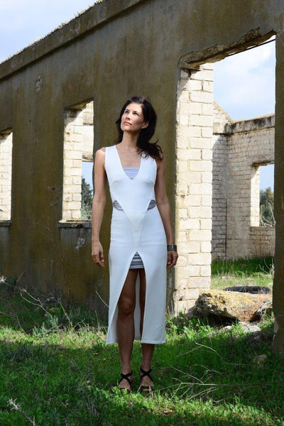White Asymmetric Fusion Dress