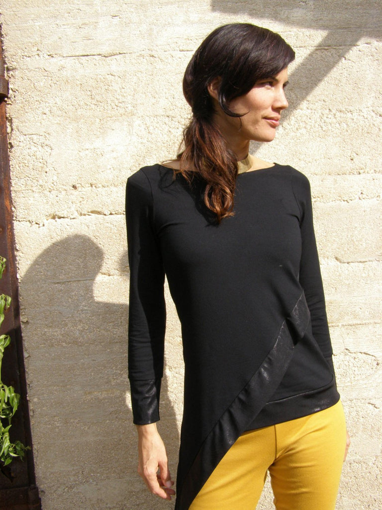Asymmetrical Black Tunic with Shiny Edges