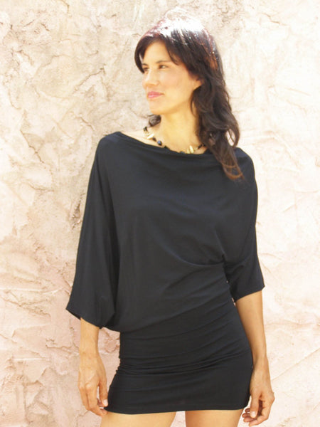 Oversize Asymmetrical Bat Sleeves Tunic Dress