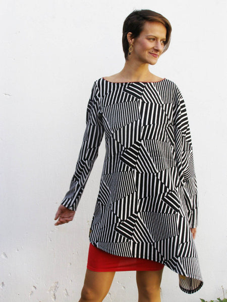 Asymmetrical Black and White Over Sized Tunic