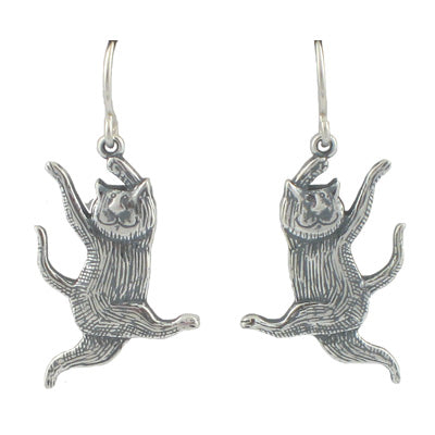 Dancing Cat Earrings Sterling Silver - GoreyStore