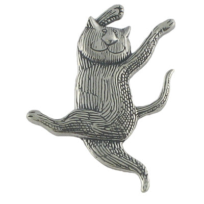 Dancing Cat Pin Sterling Silver