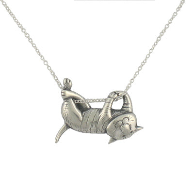 Dangling Cat Necklace Sterling Silver - GoreyStore