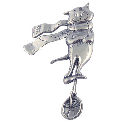 Cat on a Unicycle Pin Sterling Silver