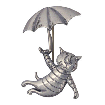 Umbrella Cat Pin Sterling Silver