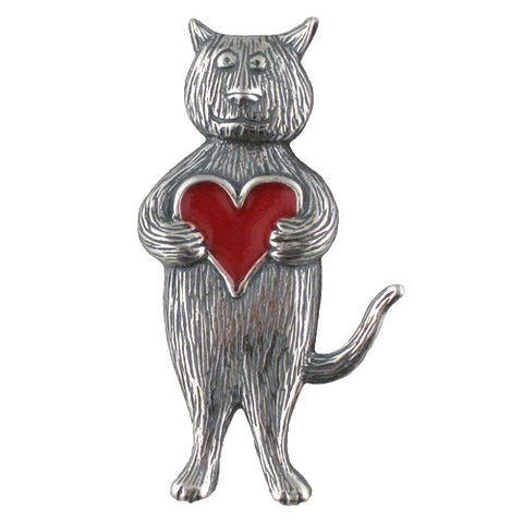 Heart Cat Pin Sterling Silver