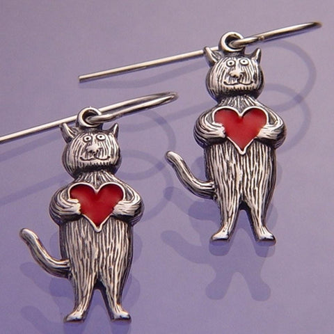 Heart Cat Earrings Sterling Silver