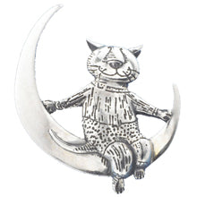 Cat Moon Pin Sterling Silver
