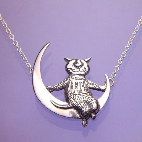 Cat Moon Necklace Sterling Silver