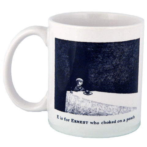 E is for Ernest who choked on a peach Mug - GoreyStore