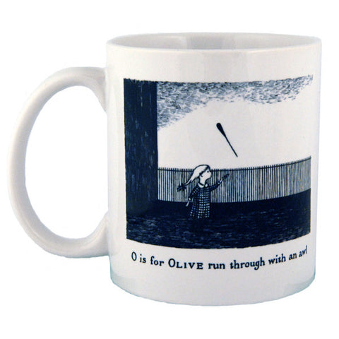 O is for Olive run through with an awl Mug - GoreyStore