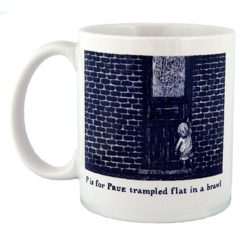 P is for Prue trampled flat in a brawl Mug - GoreyStore