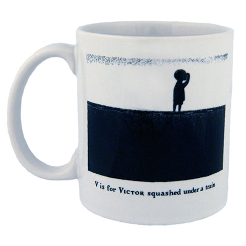 V is for Victor squashed under a train Mug - GoreyStore