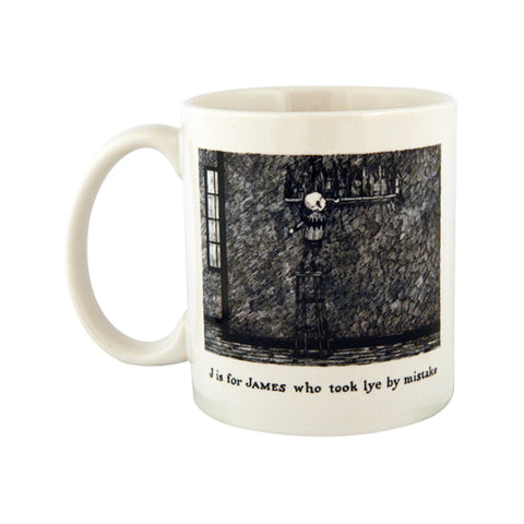J is for James who took lye by mistake Mug