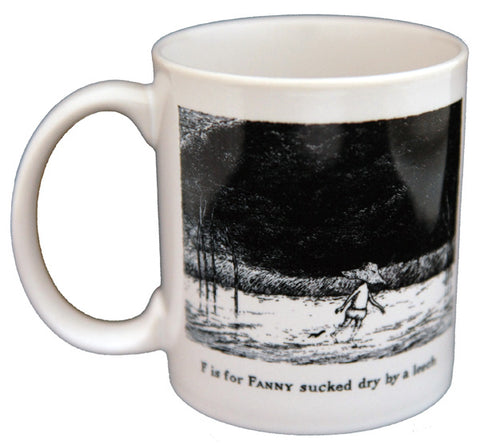 F is for Fanny sucked dry by a leech Mug - GoreyStore