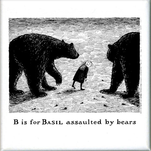 B is for Basil assaulted by bears Square Magnet