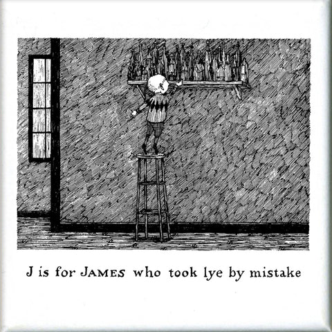 J is for James who took lye by mistake Square Magnet