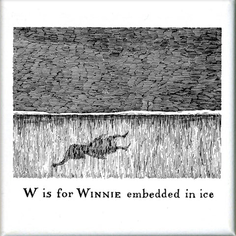 W is for Winnie embedded in ice Square Magnet - GoreyStore