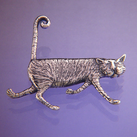 Stripey Cat Pin Sterling Silver