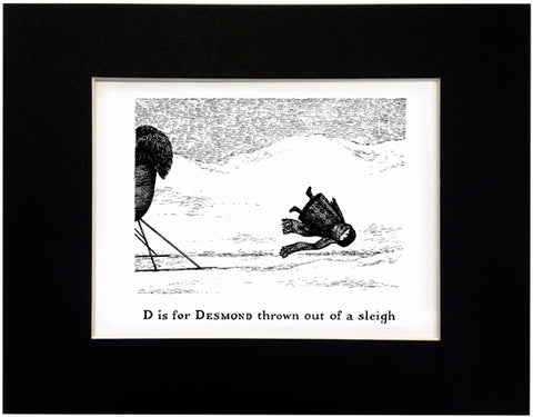 D is for Desmond thrown out of a sleigh Print