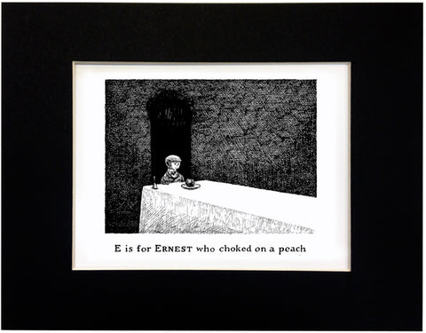 E is for Ernest who choked on a peach Print