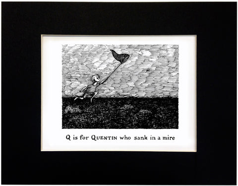Q is for Quentin who sank in a mire Print - GoreyStore