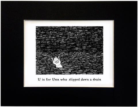 U is for Una who slipped down a drain Print - GoreyStore