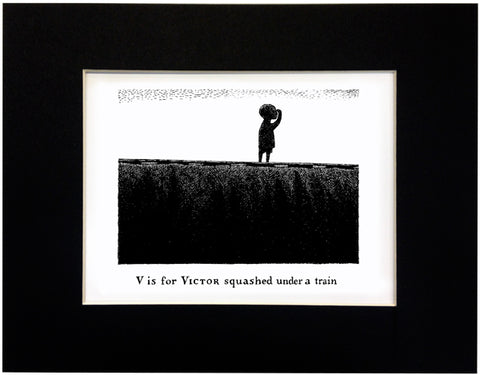 V is for Victor squashed under a train Print - GoreyStore