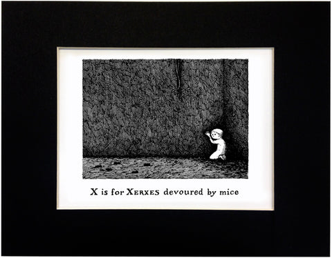 X is for Xerxes devoured by mice Print - GoreyStore