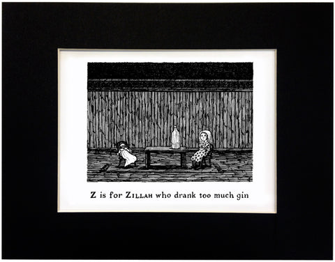 Z is for Zillah who drank too much gin Print - GoreyStore