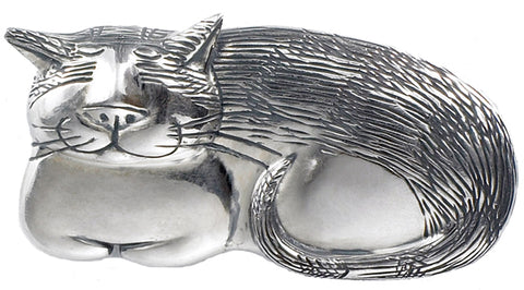 Cozy Cat Pin Sterling Silver - GoreyStore