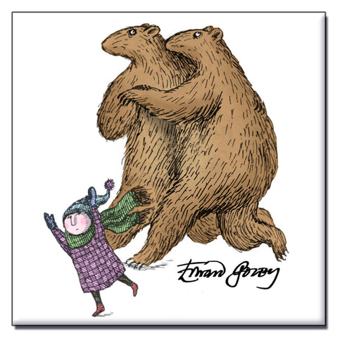 Edward Gorey Dancing Bears Square Magnet