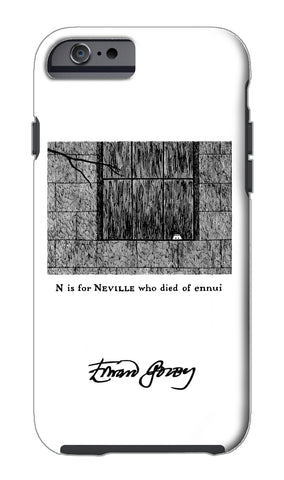 Edward Gorey N is for Neville who died of ennui iPhone Case
